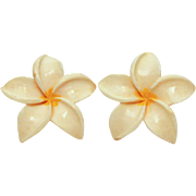 Vintage Plumeria Hawaiian Frangipani Flower Blossom Screw Back Earrings Honolulu Hawaii
