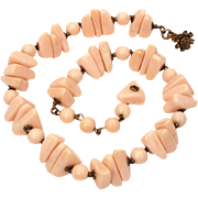 Miriam Haskell Faux Angel Skin Coral Bead Necklace, Small Beaded Filigree Hook Clasp