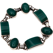 Mexican Sterling Bracelet Pre Eagle Silver Mexico Sterling Chrysoprase, Vintage Mexican Sterling Jewelry, Art Deco Style