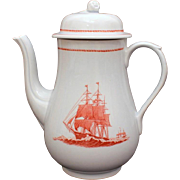 Wedgwood Porcelain Coffee Pot Flying Cloud Pattern in Rust Georgetown Collection Transferware 1833 Ship Stag Hound
