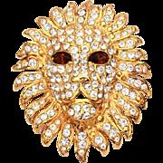 KJL Kenneth Jay Lane Lion Head Pin Pendant Topaz Crystal Eyes & Pave Rhinestone Mane