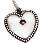 1940s Sterling Puffy Heart Charm February Birthstone, Amethyst Birthday, Anniversary Glass Rhinestone, Engraved Helen