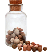 54 Antique Hand Made Clay Marbles in Glass Jar with Cork Stopper, Marble Collection with Shooters