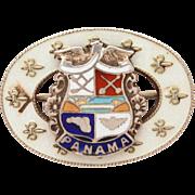 Vintage Panama Sterling Guilloche Enamel Travel Souvenir Pin with Coat of Arms, Country Crest, Fleur De Lis