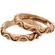 JJ Marco Sterling Designer Stack Rings, Gold Washed Wavy Design, Size 5 3/4