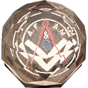 Masonic AF & AM Faceted Glass Paperweight, Vintage Ancient Free & Accepted Masons