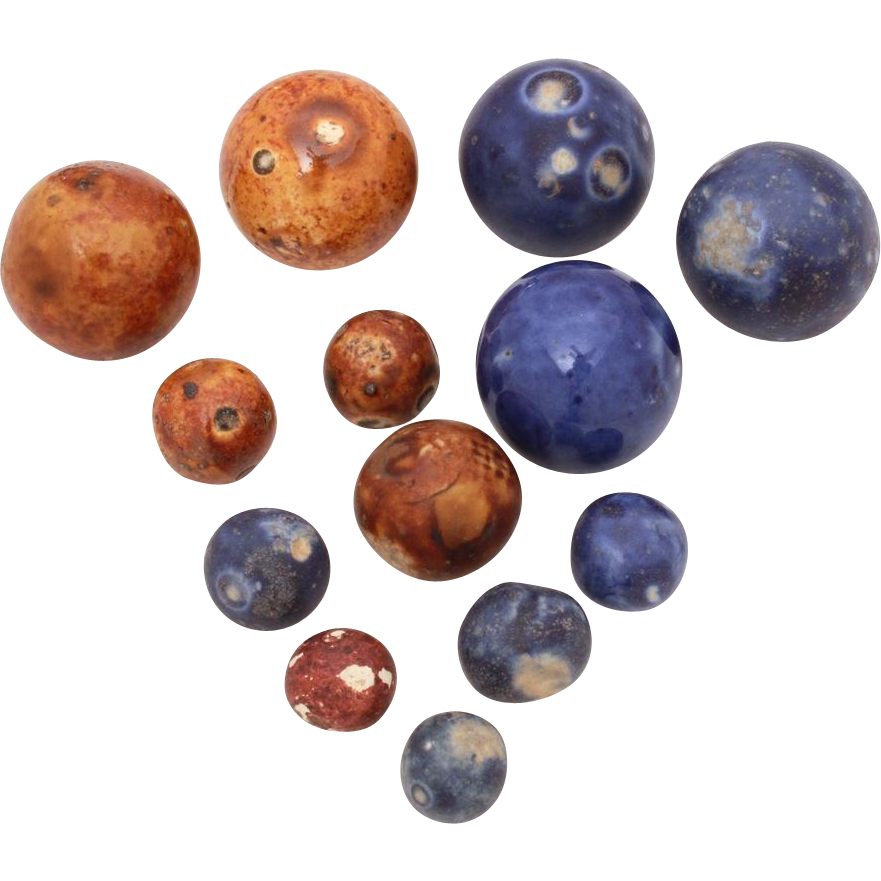 Antique Bennington Marbles 13 Clay Marbles Large 29mm