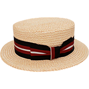 Italian Straw Boater Grosgrain Hat Band in Black, Red, & White, Made in Florence Italy, US Size 6 7/8