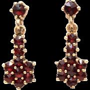 Rose Cut Bohemian Garnets, Gold Wash 900 Silver Dangle Pierced Earrings
