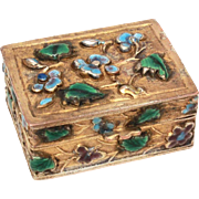 Chinese Enamel Pill Box Trinket Box Enameled Repousse Leaves & Flowers
