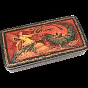 Vintage Russian Lacquer Box Firebird Fairy Tale Painting, Village of Kholui