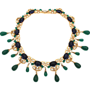 Jomaz Moghul Jewels of India Faux Emerald Sapphire Gold Tone Choker Necklace Circa 1950