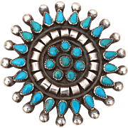 Zuni Petit Point Turquoise Sterling Pin, Vintage Native American Brooch, Signed UEX