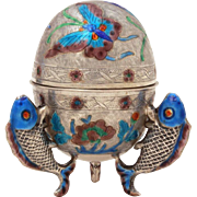 Chinese Silver Export Antique Egg Shape Box with Enamel Butterfly, Fish Feet, Gilded Interior
