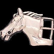 Circa 1980 Barry Kieselstein Cord Sterling Heavy Large Horse Head Equestrian Belt Buckle, 129 grams