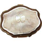 Antique Carved Mother of Pearl & Brass Coin Purse, Small Victorian MOP Fashion Accessory