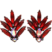 Regency Red Navette Rhinestones & Pink Aurora Borealis Clip On Earrings, Japanned Mountings