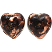 Venetian Glass Earrings Heart Shape Black and Clear Swirled with Aventurine, Glass Button Earrings, Vintage Italian Goldstone Glass Clip Ons, Made in Italy