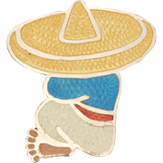 JF Siesta Mexican Man in Sombrero Sterling Enamel Pin Jeronimo Fuentes Mexico Brooch