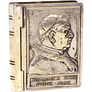 Pope John XXIII Rosary Box, Silverplate Papal Portrait Signed D. Colombo, Book Shape Box