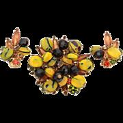Verified Juliana D&E Pin Earrings, Seed Pod Bead Dangles on Topaz, Smoke Topaz, Green Tourmaline, Hyacinth Rhinestones, Genuine Delizza & Elster Jewelry