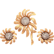 Jomaz Ciro Matching Set Pin & Earrings Textured Gold Tone Flower Petals Pave Rhinestone Centers