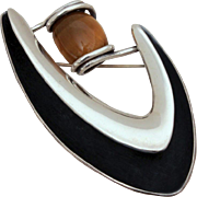 Signed Sigi Pineda Mid-Century Modern Sterling & Tiger Eye Stone Pin, Boomerang Biomorphic Brooch, Taxco Mexico Silver