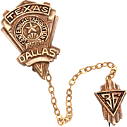 Texas Centennial Exposition 1836 - 1936 Dallas Double Pin & Chain, Chatelaine Lapel Pins