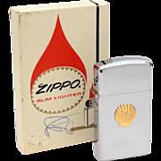 Unused 1974 Shell Oil Zippo Lighter in Box, Slim Zippo Boxed