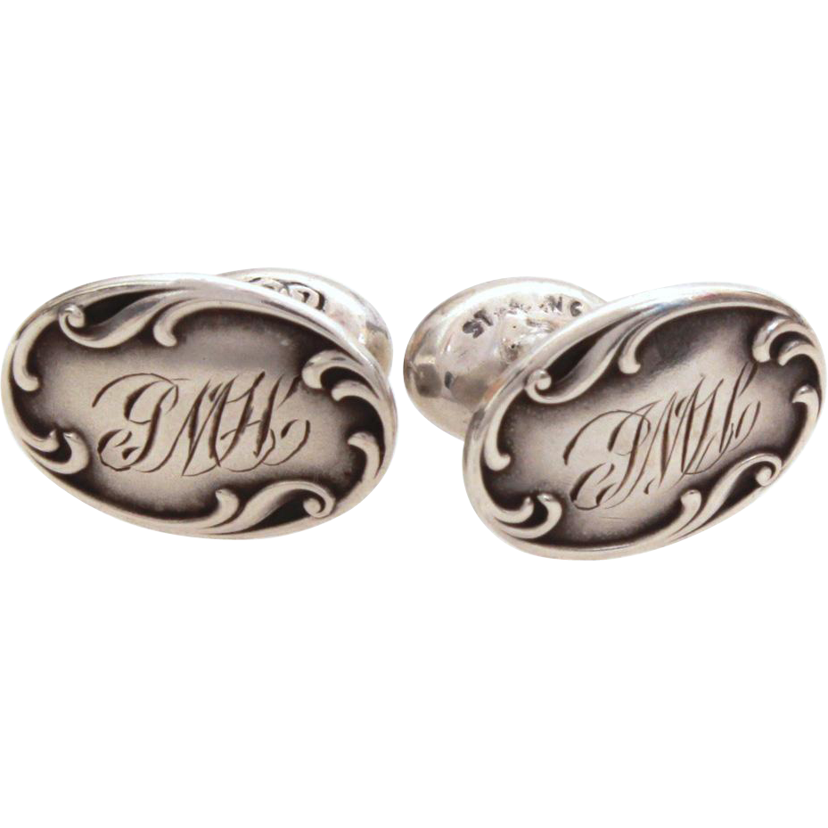Antique Sterling Cufflinks, Engraved Edwardian Cuff Links