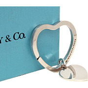 Vintage Tiffany & Co Sterling Keychain, Heart Key Ring with Dangle Charm in Box with Pouch
