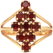 Pretty Bohemian Garnet 14k Gold Ring by Church & Co. Size 8