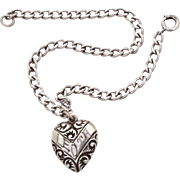 1940s Sterling Puffy Heart Charm on Sterling Curb Link Chain Bracelet, Engraved Name Leota Hop, Vintage Puffy Heart Bracelet Charm
