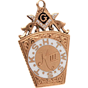 Masonic Watch Fob 12k Gold Enamel Keystone HTWSSTKS, Mark Master, 4th Degree of Royal Arch Masonry, Pecos Texas Chapter, Hand Engraved