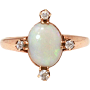 Antique 14k Opal Diamond Ring, Mine Cut Diamonds, Vintage Edwardian Ring, October Birthstone, Size 6 3/4
