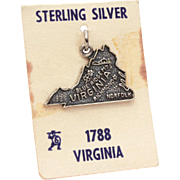 State of Virginia Sterling Charm NOS on Card Travel Souvenir, Bracelet Charm with Norfolk, Richmond, Blue Ridge Mountains, Flowering Dogwood, Williamsburg Governor's Palace