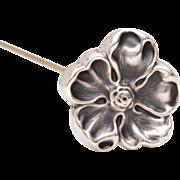 Antique Art Nouveau Sterling Hatpin Dog Rose, Dimensional Flower Blossom, Hat Pin Sterling Flower Petals, Marked Sterling Top