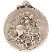 Saint George Slaying Dragon Creed Sterling Catholic Medal St. George Guard Us, Vintage Medal Sterling Devotional, Watch Fob Style
