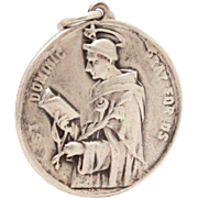 Vintage Sterling Catholic Medal St. Dominic, Founder of Dominican Order, Saint Dominic Medal, Patron Saint of Astronomers & Falsely Accused