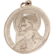 Sacred Heart of Jesus Sterling Medal, Vintage Catholic Medal, Sweet Heart of Jesus Have Mercy, Immaculate Heart Mary Sweet Heart of Mary