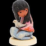 The White Dove DeGrazia Goebel Figurine, American Impressionist Ettore Ted DeGrazia, Native American Indian Girl Dove of Peace & Innocence