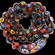 "Vintage Venetian Millefiori Glass Beads, Italian Glass Bead Necklace 28"""
