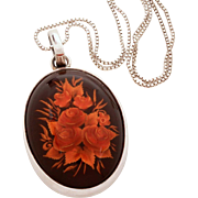 Reverse Carved Amber Sterling Necklace, Baltic Amber Pendant, Carved Rose Bouquet, Sterling Box Chain