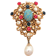 Vintage Corocraft Pin with Art Glass Turquoise, Pink & Blue Rhinestones, Costume Pearls, Faux Baroque Pearl Dangle