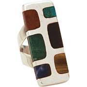 Sterling Modernist Ring, Mid Century Modern by Taxco Mexico Artist Quintin V, Multi Stone Inlay, Size 7 3/4