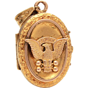 Rare Antique Locket Polish American Falcons ZSPwA, Gold Filled Locket, Picture Locket, Photo Locket Pendant, W&S Blackinton GF Locket Eagle