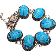 Egyptian Revival Blue Faience Scarab Bracelet 800 Silver, Egypt Hallmark & Egyptian Hieroglyphics
