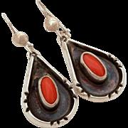 Native American Navajo Coral Sterling Earrings Pierced Dangles, Tear Drop Earrings