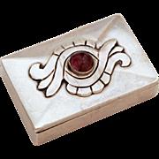 Damaso Gallegos 980 Silver Amethyst Box, Taxco Mexico, Mexican Silver, Sterling Pill Box, Trinket Box, DG 980 Taxco