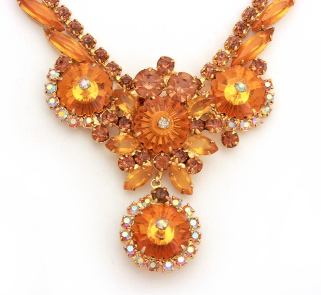 juliana rivoli necklace pin set in orange topaz smoky